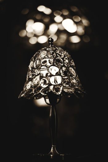 The Week On EyeEm Black And White Black Background Blackandwhite Bokeh Close-up Focus On Foreground Handmade Handmade Lamp Hanging Illuminated Indoors  Night No People Tiffany Lamp