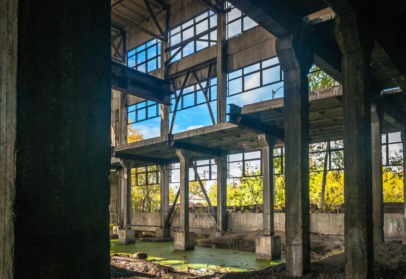 Abandoned Plant Industrial Decay Concrete Glass Factory Novokuznetsk Kuzbass Siberia Russia