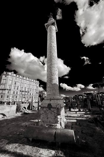 Foro Romano Trajan's Column Rome Clouds And Sky Black & White Blackandwhite Cloud - Sky Sky Architecture Day No People Low Angle View Architectural Column