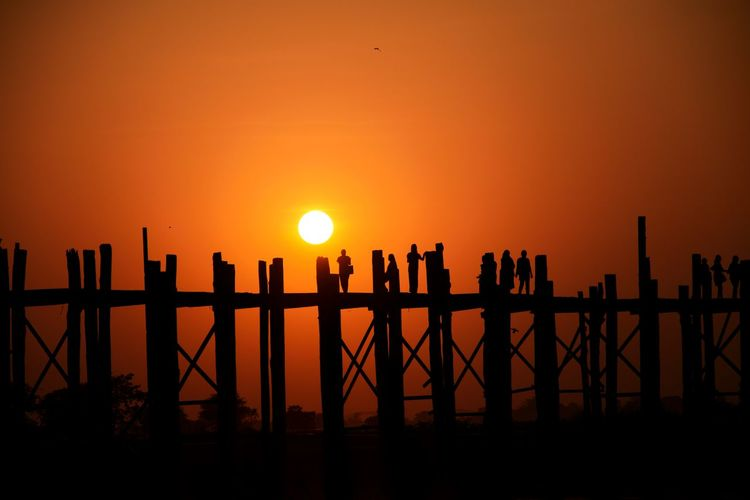 U Bein Bridge Myanmar Travel Sunset Sun Silhouette Sea Railing Orange Color Travel Destinations Tranquil Scene Beauty In Nature First Eyeem Photo EyeEmNewHere Capture Tomorrow
