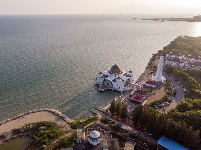 Melaka Straits Mosque, Malaysia Water High Angle View Sea Architecture Building Exterior Built Structure Scenics - Nature Nature Sky Building Beauty In Nature Outdoors No People Day Horizon Over Water Travel Destinations Aerial View Melaka Malacca Malaysia ASIA Mosque Melaka Straits Mosque Drone  Droneshot