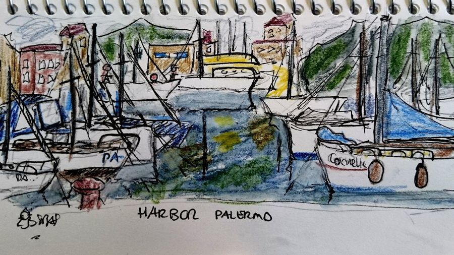 Urban sketching: Palermo harbor (c) 2018 Shangita Bose All Rights Reserved Urban Sketching Boats Sailing Vessels Harbor Water Reflection Colorful Mirrored Snbus From My Point Of View Colorful Graffiti Close-up Architecture Colored Pencil Waterfront ArtWork