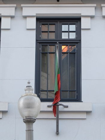 Euro 2016 Flag Green & Red Porto Portugal Street Lamp Window Fine Art Photography