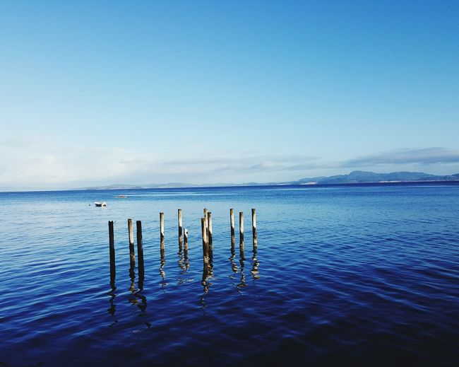 Wooden Poles In Calm Blue Sea