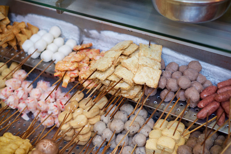 Street food in Macau is 👌 Choice Close-up Delicious Fish Balls Food Food And Drink Freshness Large Group Of Objects Macau No People Preparation  Sausage Selection Skewers Street Food Tofu Beautifully Organized Food Stories