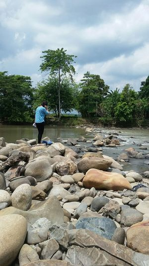 Capturing Freedom Nature Photography River View the Girl Standing at Stone > Kota Belud Sabahborneo