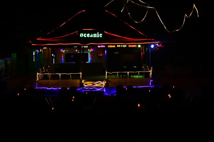oceanic bar Bar At The Beach Beach Life Beachlife Goa Baga Arts Culture And Entertainment Nightlife Illuminated Night Music No People Nightclub