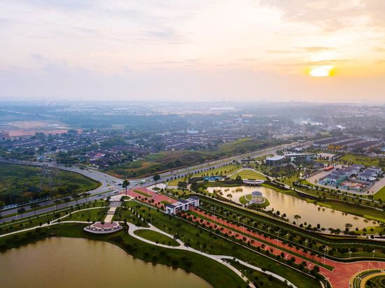 Aerial view of park at Eco Tropic Pasir Gudang Johor Architecture Sky Built Structure Building Exterior Sunset Cityscape Cloud - Sky High Angle View River Transportation City Connection No People Bridge - Man Made Structure Aerial View Outdoors Road Scenics Water Travel Destinations
