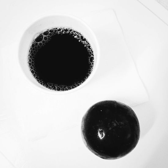 Brewed coffee and Star apple. Black Color Circle Close-up Coffee Cup Directly Above Geometric Shape IPhoneography Iphonephotography No People Overhead View Refreshment ShootTheDay Still Life Studio Shot White Background