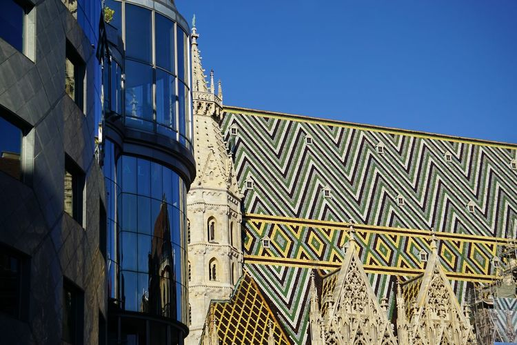 Low angle view of st stephens cathedral against clear blue sky