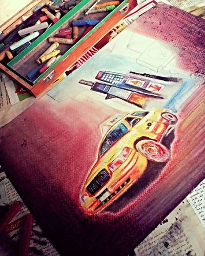 Painting Painting_club Taxi Stillworkingonit Colours Pastel