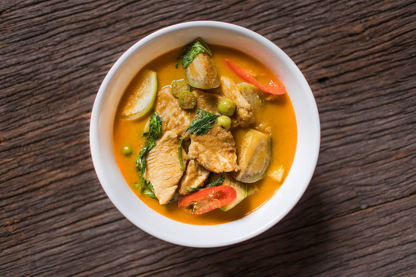 Thai Green Curry With Chicken Basil Bowl Coconut Milk Cooking Cuisine Dinner Eggplant Food Food And Drink Freshness Healthy Eating Herb Lunch Soup Soup Bowl Spicy Food Table Thai Cuisine Thai Food Thailand Traditional