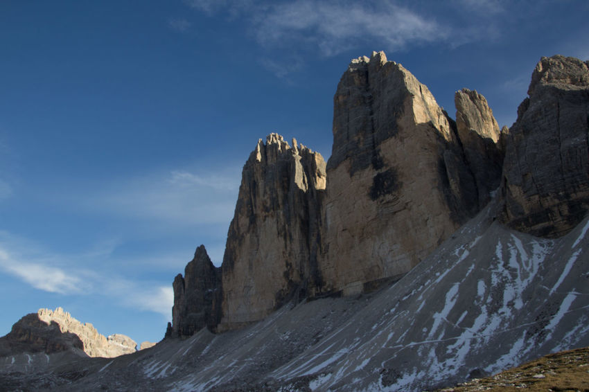 Beautiful National Park Beauty In Nature Cliff Day Dolomiti Dreizinnen Formation Of Nature Geology Mountain Nationalgeographic Nature No People Outdoors Physical Geography Rock - Object Rock Formation Scenics Sky Tranquil Scene Tranquility