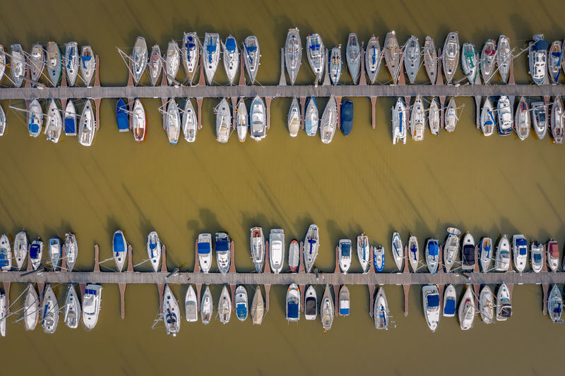 Directly above shot of boats moored in sea