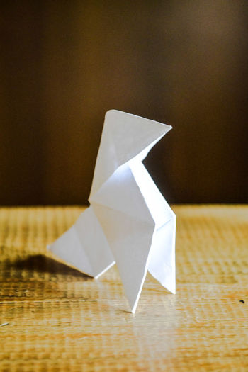 Close-up of paper origami on table