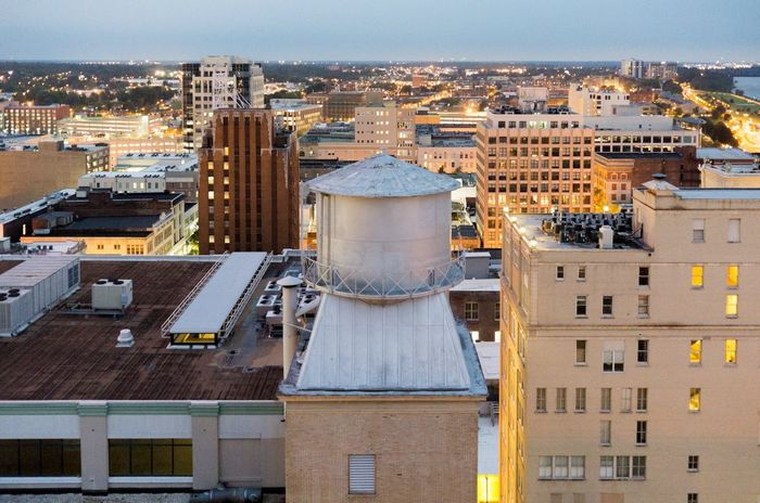 Architecture Bright Building Building Exterior Built Structure City Cityscape Glow High Look Down Memphis Modern Tennessee Pattern Roof Rooftop Skyline Skyscraper Sunset Tennessee Travel Destinations Urban Skyline Vertical Water Tower Windows
