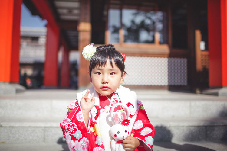 Childhood Close-up Cultures Day Focus On Foreground Front View Happiness Japan Japan Photography Japanese Culture Japanese Style Kimono One Person Outdoors People Place Of Worship Portrait Real People Smiling Traditional Clothing