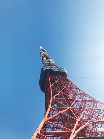Tokyo Tower EyeEm Selects Sky Low Angle View Blue Nature No People Clear Sky Tower Tourism Architecture Day Travel Destinations Built Structure Tall - High Copy Space Outdoors Sculpture