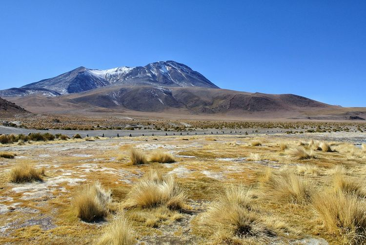 Scenic view of arid landscape against clear blue sky