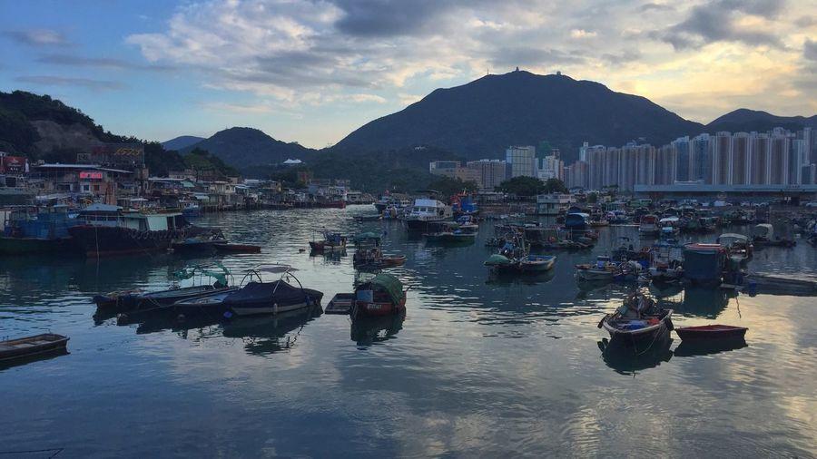 Lei Yue Mun. Boat Moment Of Silence Pier Lei Yue Mun Yau Tong HongKong Seafoods Reflection Streetphotography Marine Harbour Clear Sky