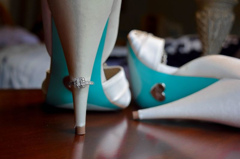 Close-up of high heels on floor