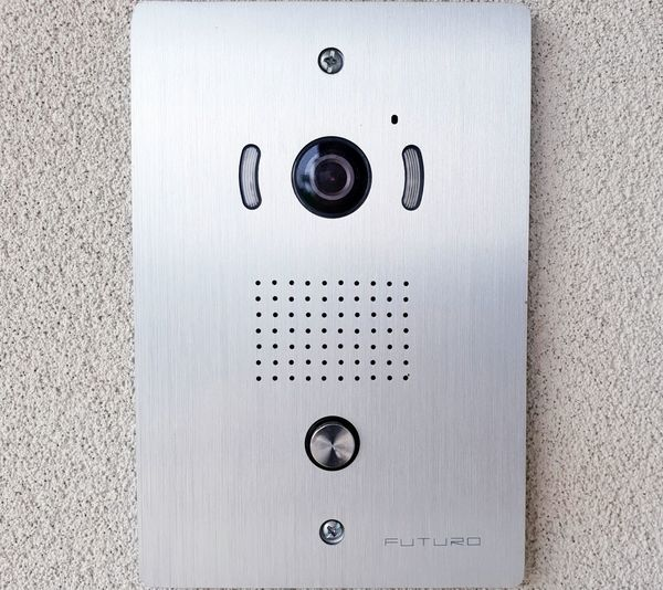 Doorbell Smart Doorbell Technology Push Button Silver Colored Wall - Building Feature Geometric Shape Built Structure Textured  Security Protection Communication Power Supply Button Backgrounds Metal Control