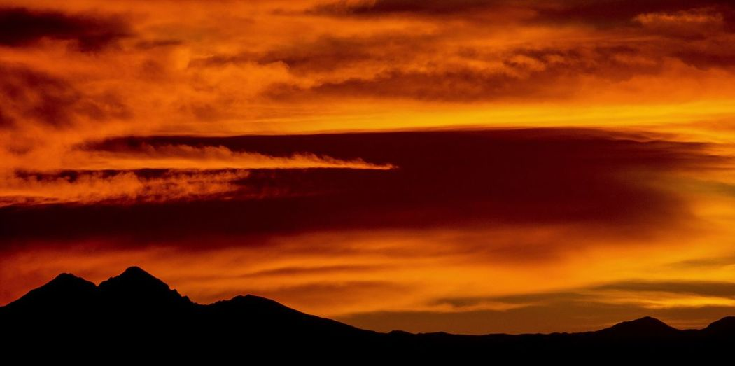Sunset Mountain Silhouette Beauty In Nature Dramatic Sky Mountain Range Colorado Longs Peak First Eyeem Photo
