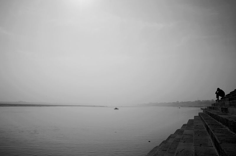 Ganga Ghat Architecture Beauty In Nature Building Exterior Built Structure Copy Space Day Fog Ganga Ganga River Horizon Nature No People Outdoors Pier Scenics - Nature Sea Sky Tranquil Scene Tranquility Water