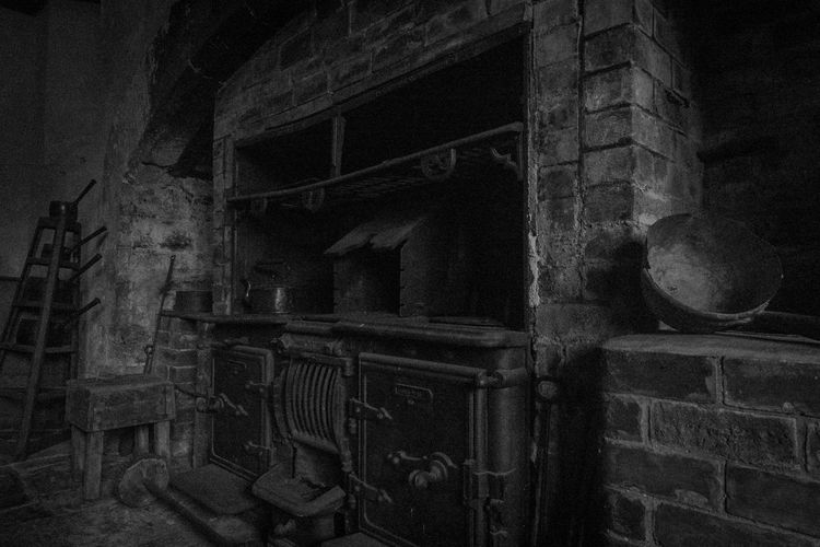 Ancient Architecture Black And White Built Structure History Indoors  No People Old Kitchen Old Oven