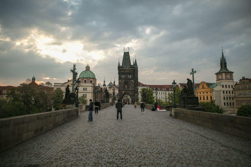 Charles Bridge Czech Republic Praha The Journey Is The Destination The Week on EyeEm Travel Architecture Building Exterior Built Structure Canonphotography City Cloud - Sky Day Dome Europe History Light And Shadow Outdoors Place Of Worship Real People Religion Sky Spirituality Tourism Travel Destinations