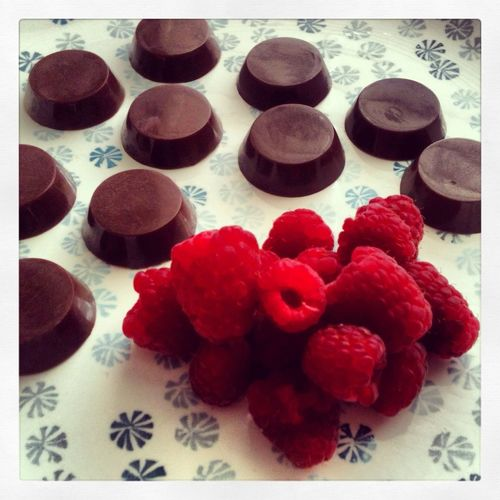 Raw Raspberry Chocolates!  Super Delicious