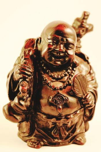 idol Travel Red Wooden Carved Bald Happy Good Luck Bibelot Man Red Tint Varnished Asian  Smiling Buddha Fat Statuette White Background Close-up Antique Aged Decorative Art Figurine  Vintage