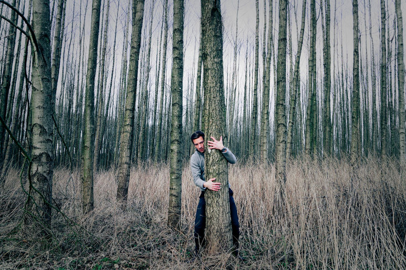 Man Hugging Tree In Forest