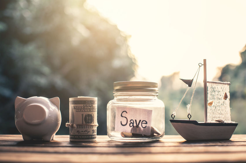 Business Close-up Coin Currency Finance Jar Still Life Sunlight Table Text