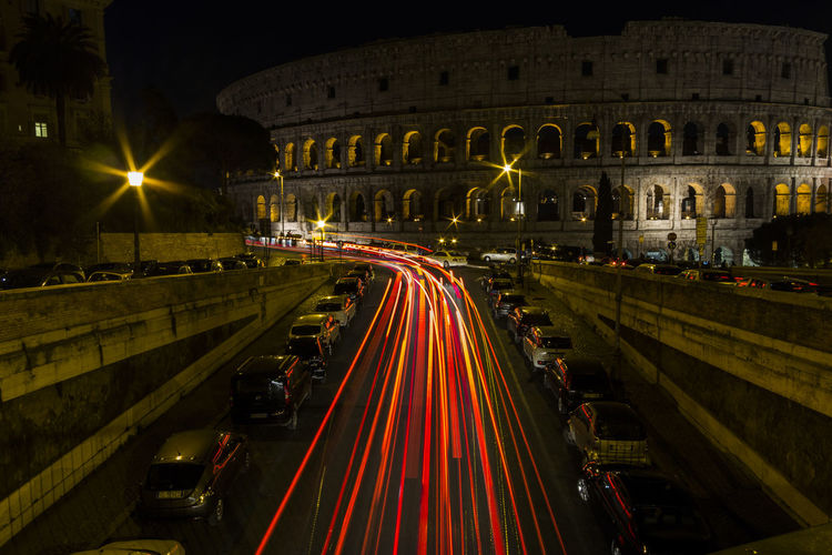 Light trails on city at night