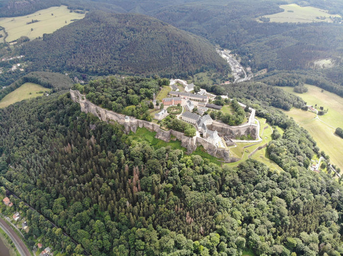 High angle view of castle on landscape