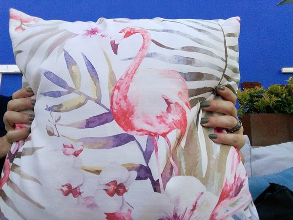 Holding a flamingo pillow. Pillow Holding Flamingos Flamingo Human Body Part One Person Adult One Woman Only Only Women Adults Only Real People Women Human Hand Day Close-up