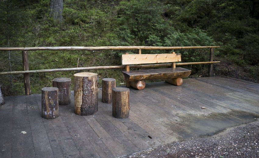 High angle view of empty bench in forest