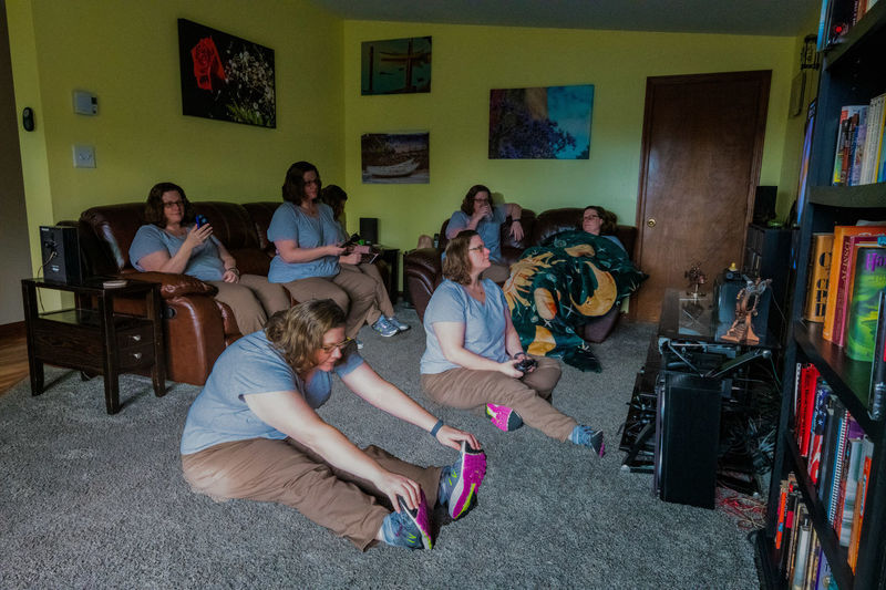 Group Of People Real People Sitting Women Togetherness Indoors  Girls Full Length Casual Clothing Females Group People Lifestyles Flooring Sister One Person Multiple Shots Photomerge Group Of The Same Person