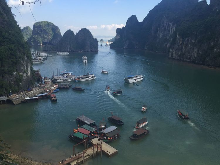 Ha Long Bay Ha Long Bay Beauty In Nature Day Ha Long Bay Ha Long Bay Cruise High Angle View Mode Of Transportation Mountain Mountain Range Nature Nautical Vessel No People Outdoors Passenger Craft Scenics - Nature Sea Sky Tranquil Scene Tranquility Transportation Travel Water
