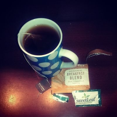 A cup of Allegrocoffee Organic breakfast blend tea and some Nongmoproject Stevia sweetleaf