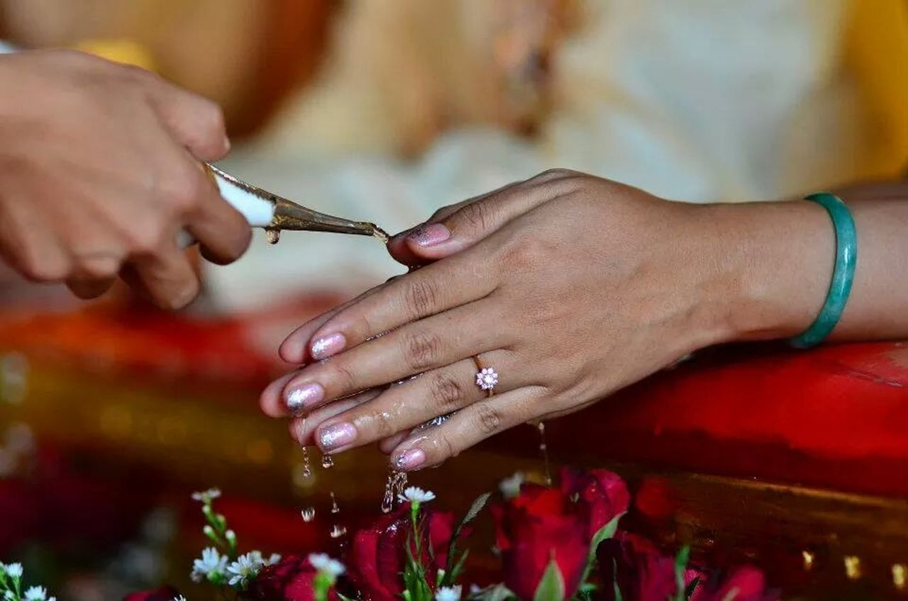 Close-up of religious ceremony
