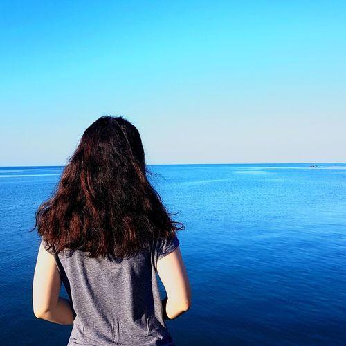 Here I can be myself , here , in silence.. Sea Blue Summer Clear Sky Beach