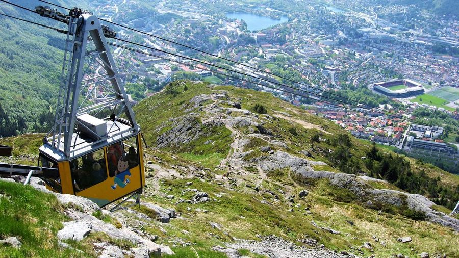 Bergen,Norway Norway Ulriken 643 Beauty In Nature Built Structure Cable Day Landscape Mode Of Transport Mountain Nature No People Outdoors Overhead Cable Car Scenics Ski Lift Sky Transportation Travel Destinations Tree
