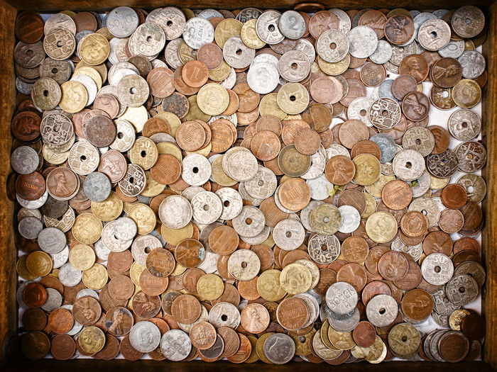 A box of coins at El Rastro Market in Madrid Spain Arrangement Backgrou Box Of Coins Close-up Coins Copper Money El Rastro Large Group Of Objects Money Still Li Texture