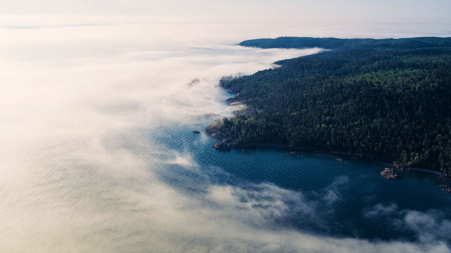 Canada Ontario Water Aerial Clouds Weather Fog Lake Lake Superior Forest Summer Blue Green Sea Beach Wave Tree Aerial View Sunset Blue Sky Horizon Over Water Shore Tide Calm Coastal Feature Coast Seascape Coastline