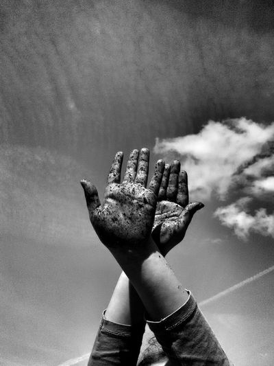 Dirty gardening hands against the sky in peculiar gesture.😊 Hands Dirty Fingers Gesture Sky Clouds Human Gardening Soil Monochrome Monochromatic Black And White Hobby Young