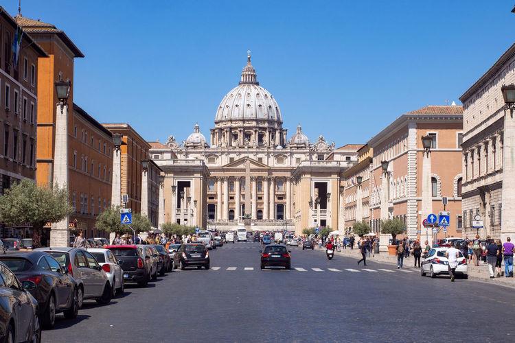 Via della conciliazione with st peter's basilica in vatican city