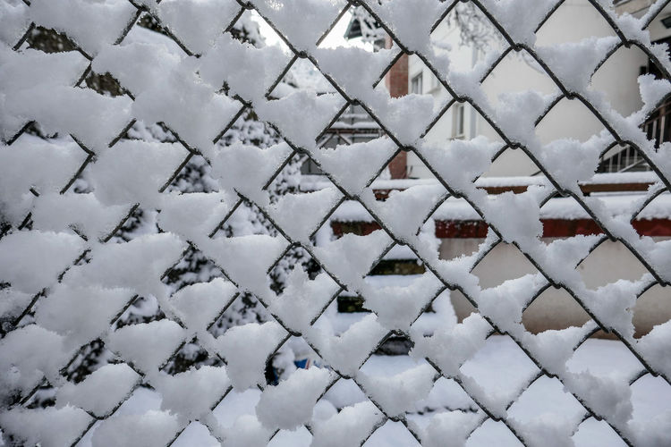 Backgrounds Close-up Cold Temperature Day Fence Fences Full Frame Limited Visibility Limited Vision Nature No People Outdoors Snow Snow Captured Snow On Fence Snow ❄ Urban Exploration What Is Behind The Fence White Winter Winterscapes