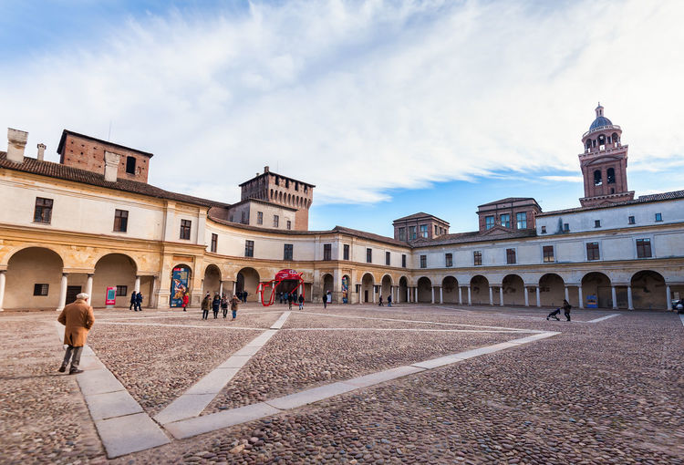 Mantua, Italy - January -4 -2019: European capital of culture and UNESCO world heritage site Built Structure Building Exterior Architecture Sky Group Of People Cloud - Sky Building City Nature Real People Men Day Adult Women Large Group Of People History Crowd The Past Travel Destinations Outdoors Mantua Italy Ancient